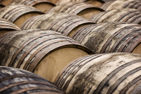 whisky barrels in Scotland